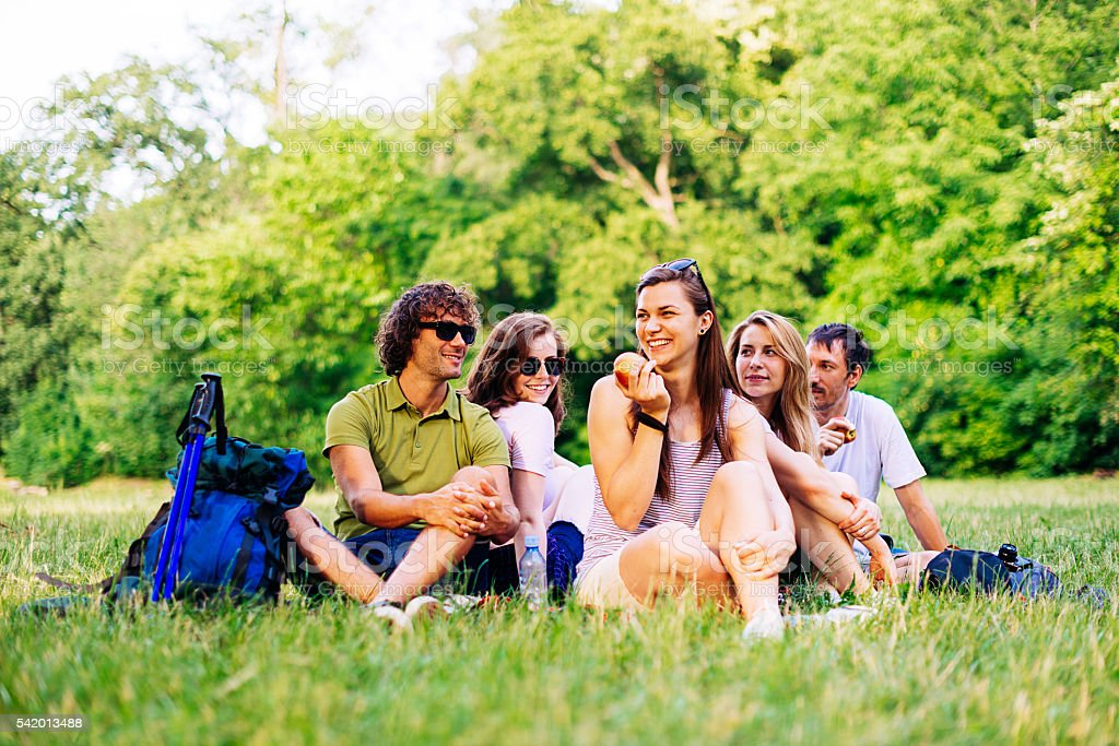 Picnic in park after walk in woods stock photo