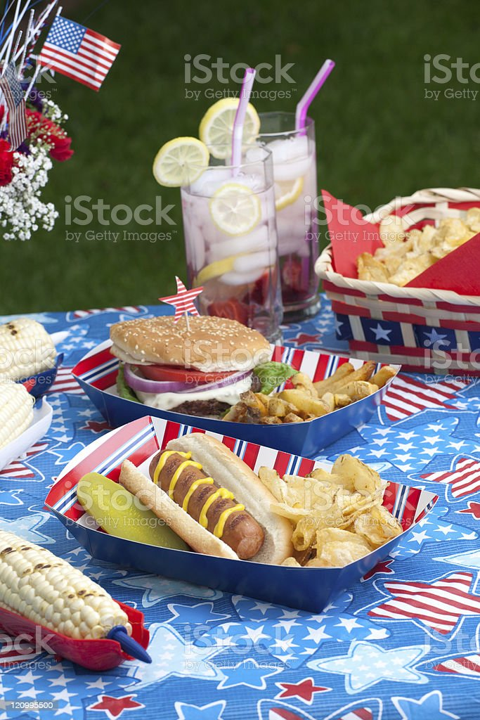 Picnic on 4th of July royalty-free stock photo