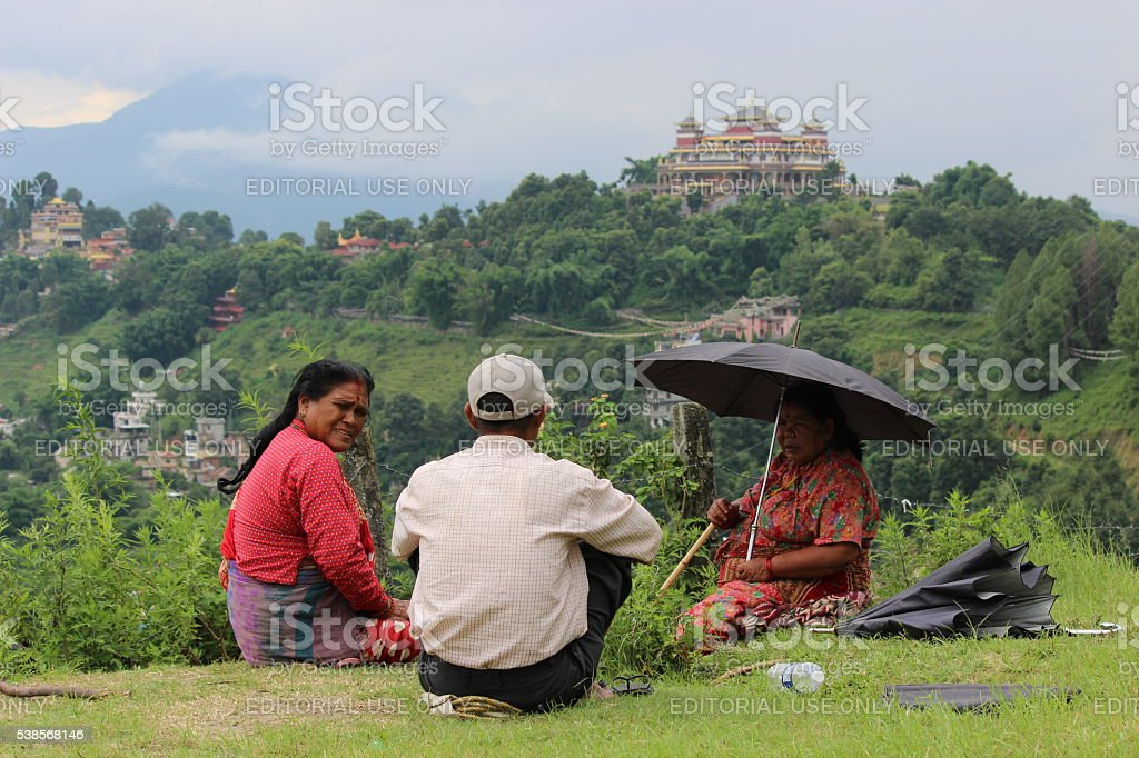 Picnic on a Hill stock photo