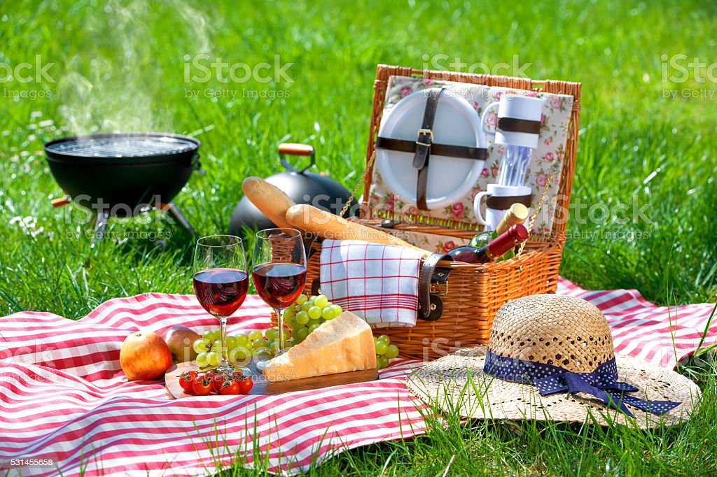 Picnic on a meadow stock photo