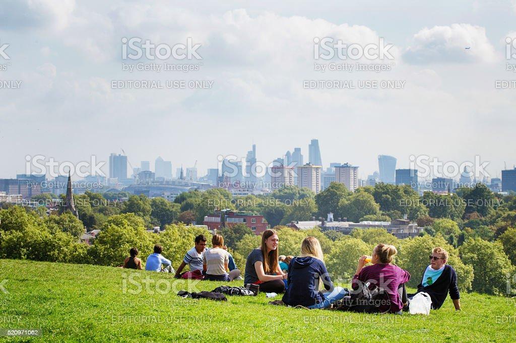 Picnic on Primrose Hill London UK stock photo