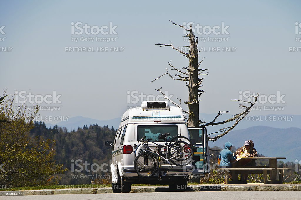 Picnic on the Blue Ridge Parkway stock photo