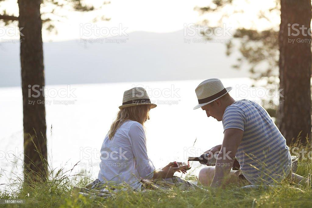 Picnic outdoors royalty-free stock photo