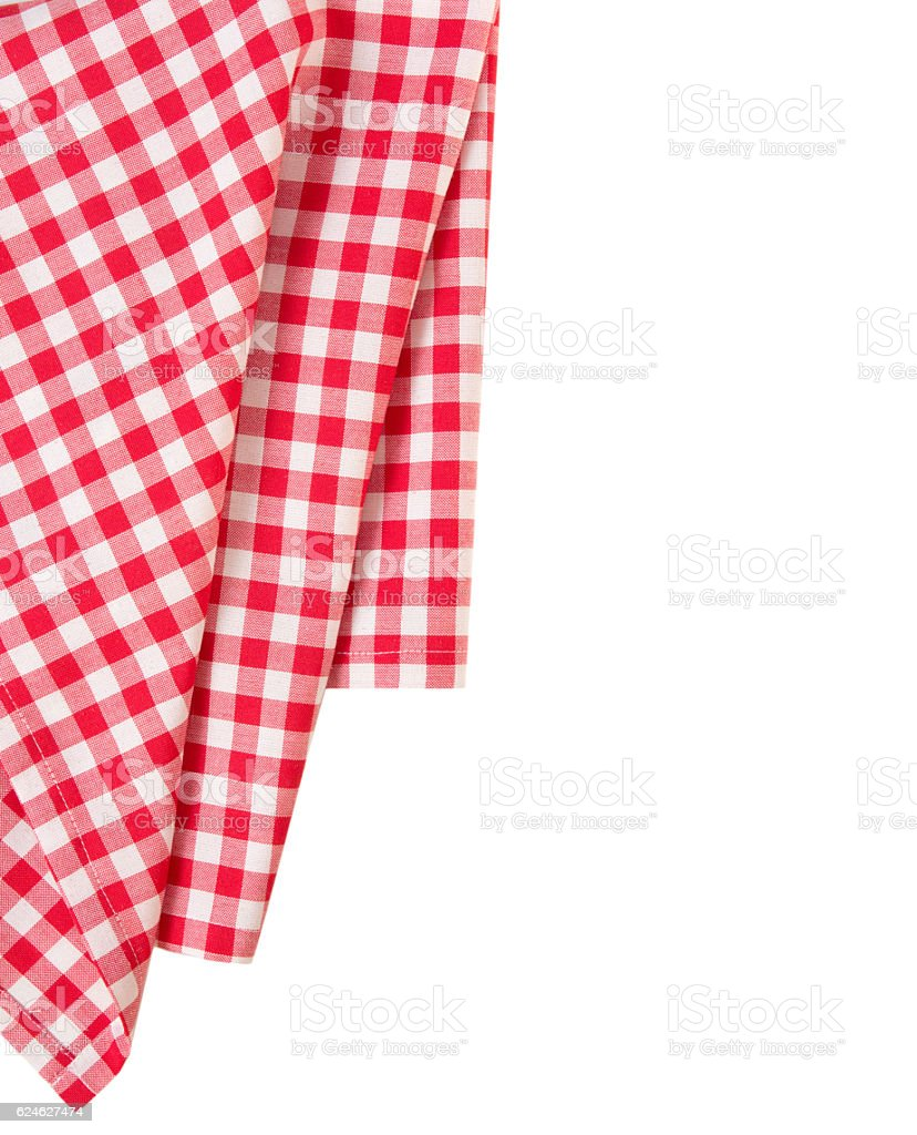 Picnic red clothes border decoration isolated.Pizza design. stock photo