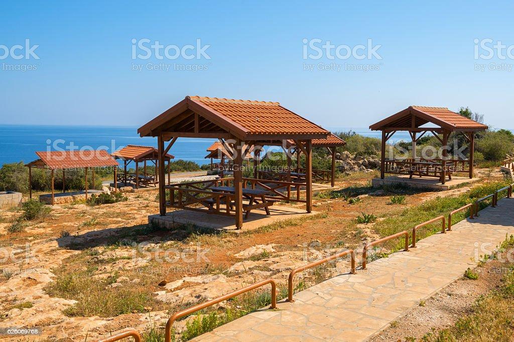 Picnic site on Cape Greco stock photo