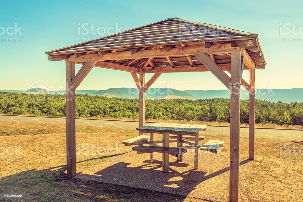 Picnic table by the roadside stock photo