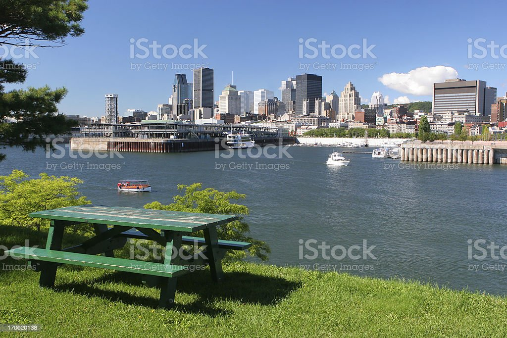 Picnic Table in a Montreal City Park royalty-free stock photo