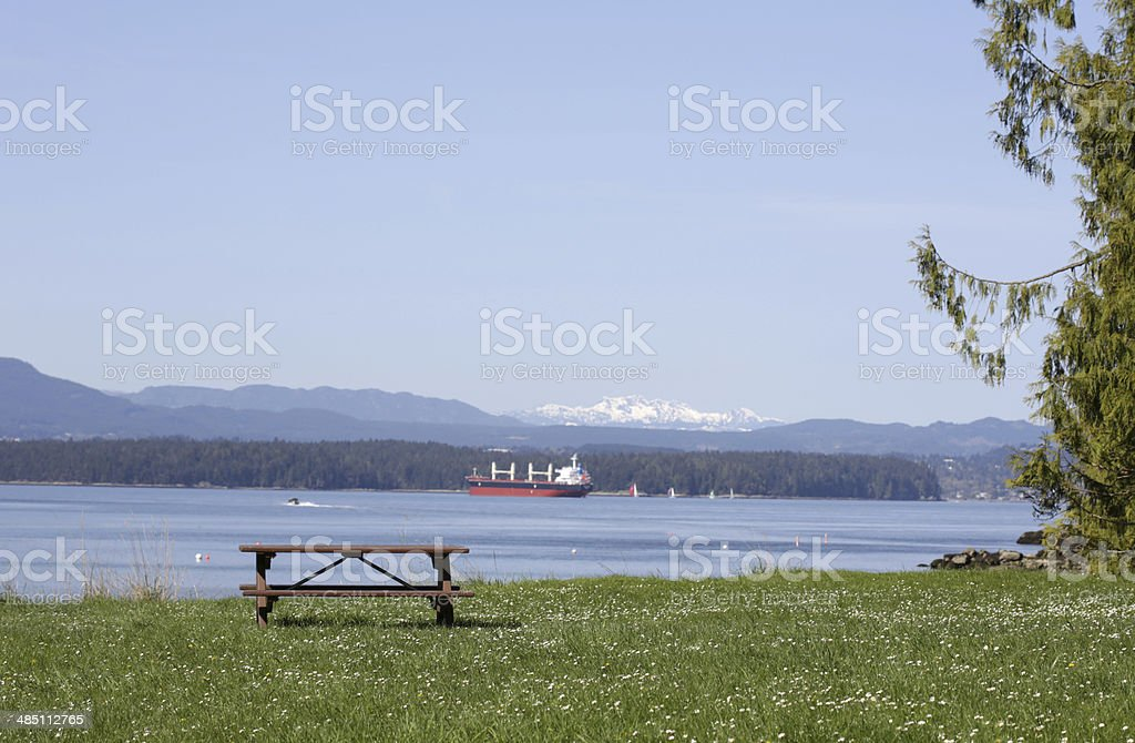 Picnic Table on Gabriola Island, British Columbia, Canada in Spring stock photo