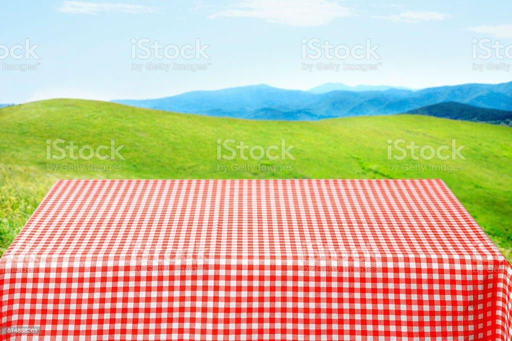 Picnic table stock photo