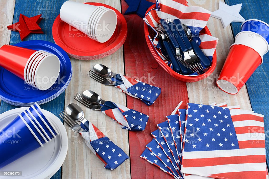 Picnic Table Setting Fourth of July stock photo