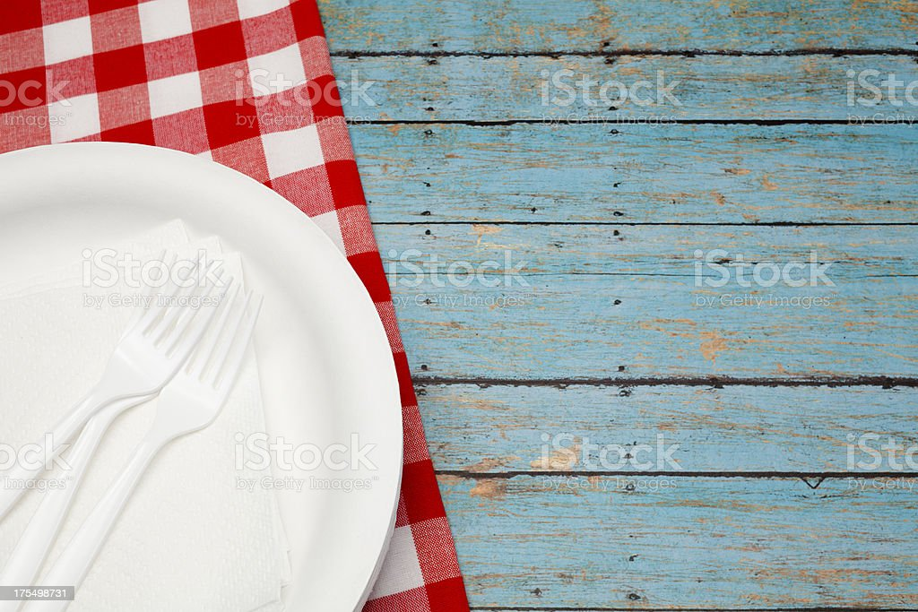 Picnic Table Setting royalty-free stock photo