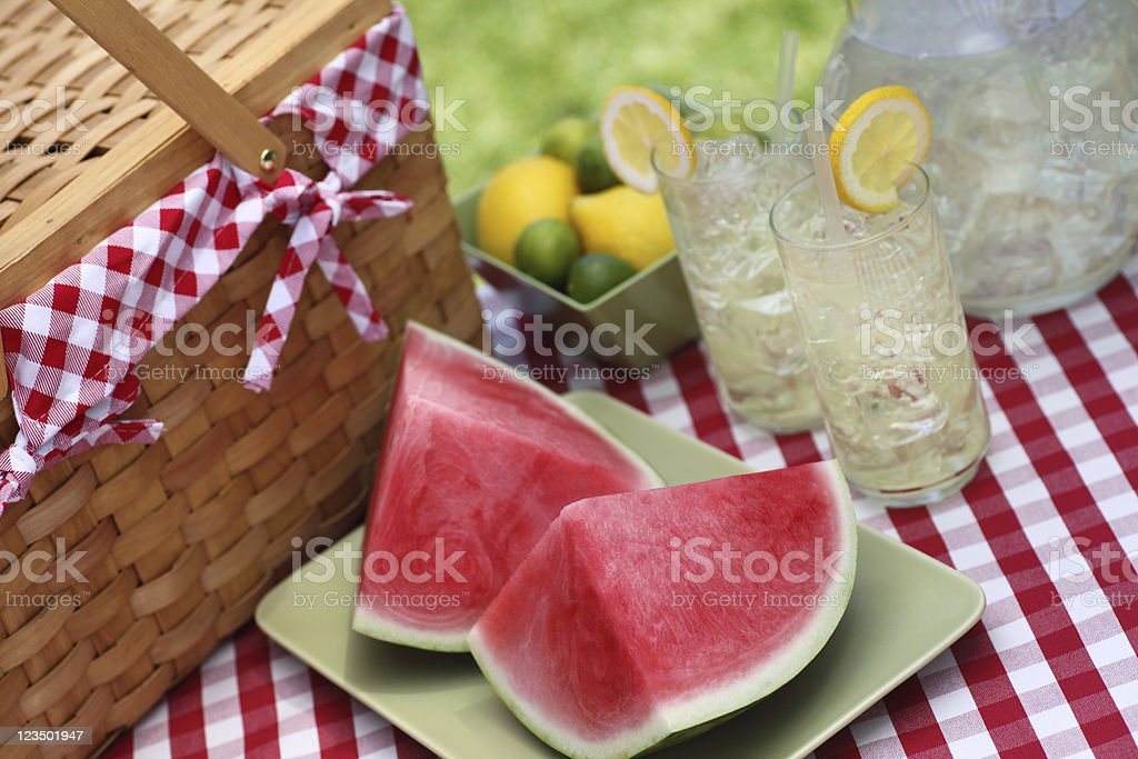 Picnic Table with Food stock photo
