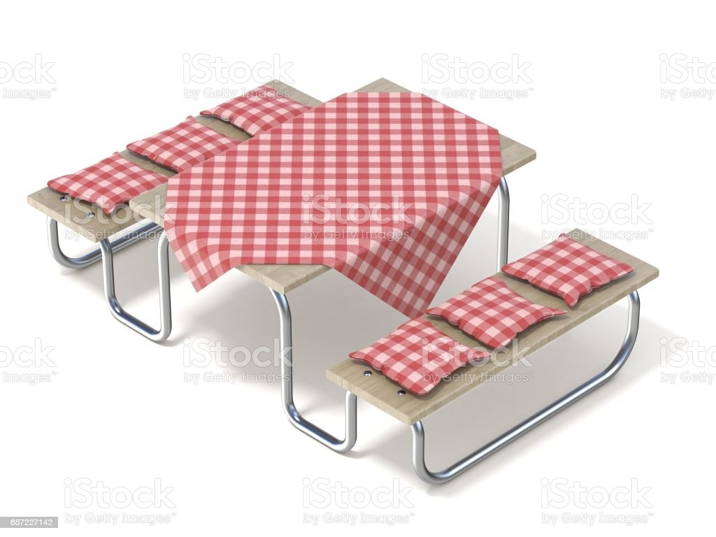 picnic table with red table cover and pillows 3d royaltyfree stock vector art