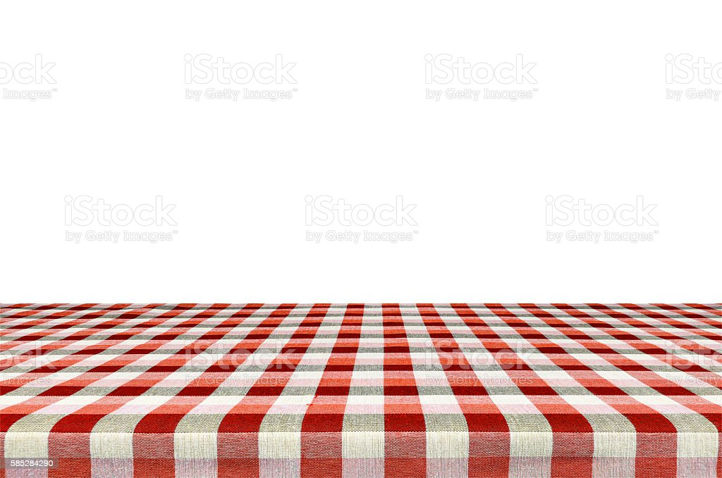 Picnic Table Background picnic table with tablecloth isolated on white background stock