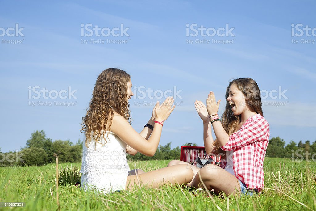 Picnic with my cousin stock photo