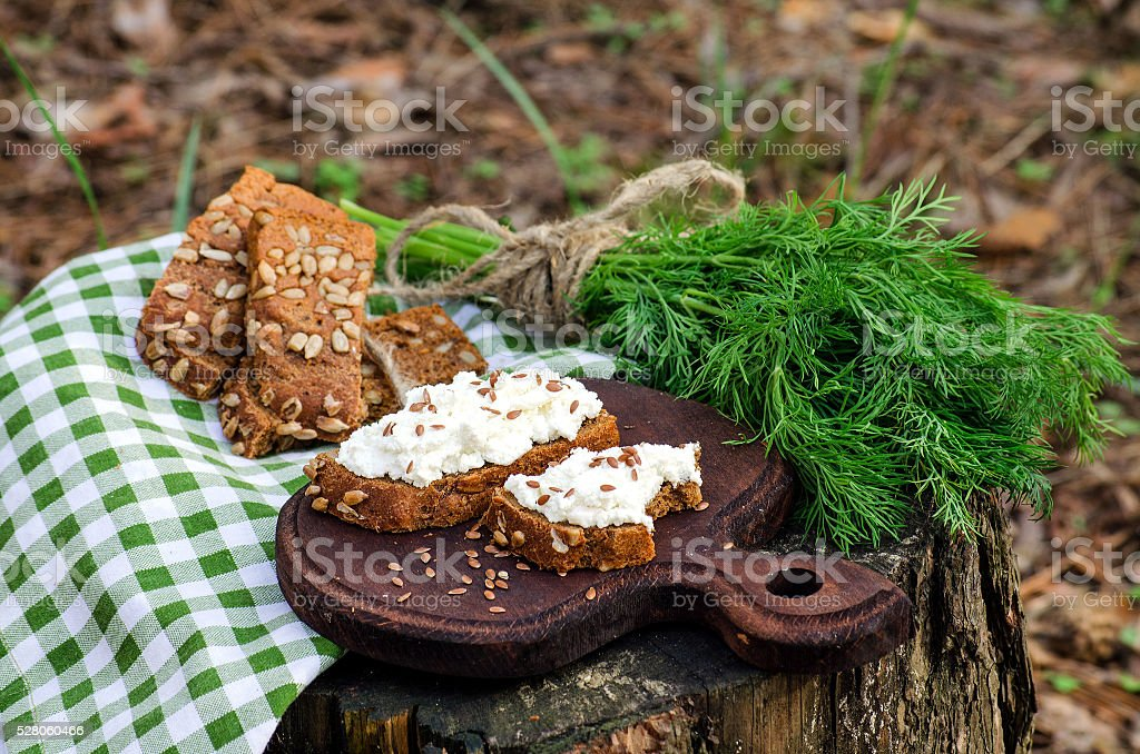 Picnic with sandwiches with ricotta and dill stock photo