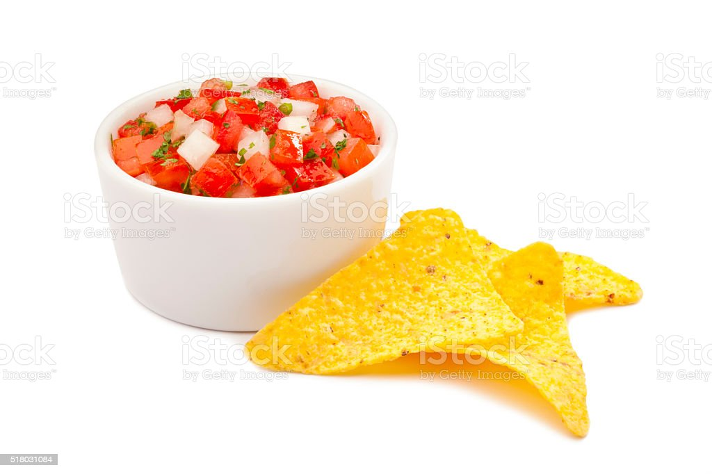 Salsa pico de gallo with nachos stock photo