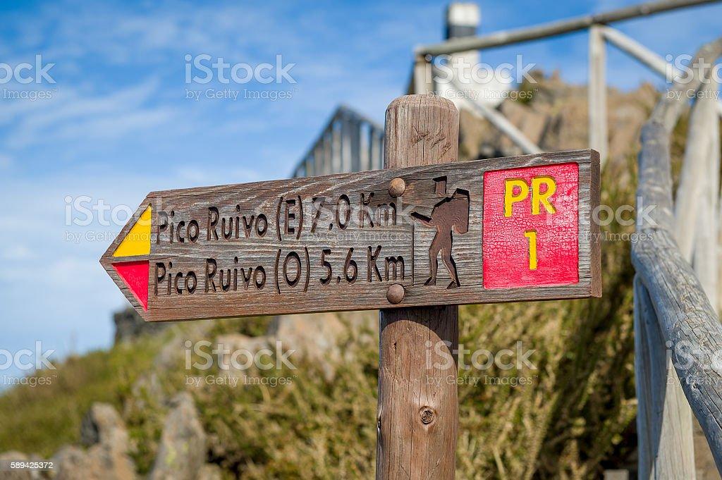 Pico Ruivo hiking path sign stock photo