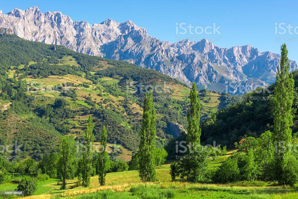 Picos de Europa mountains next to Fuente De village, Cantabria (Spain) stock photo