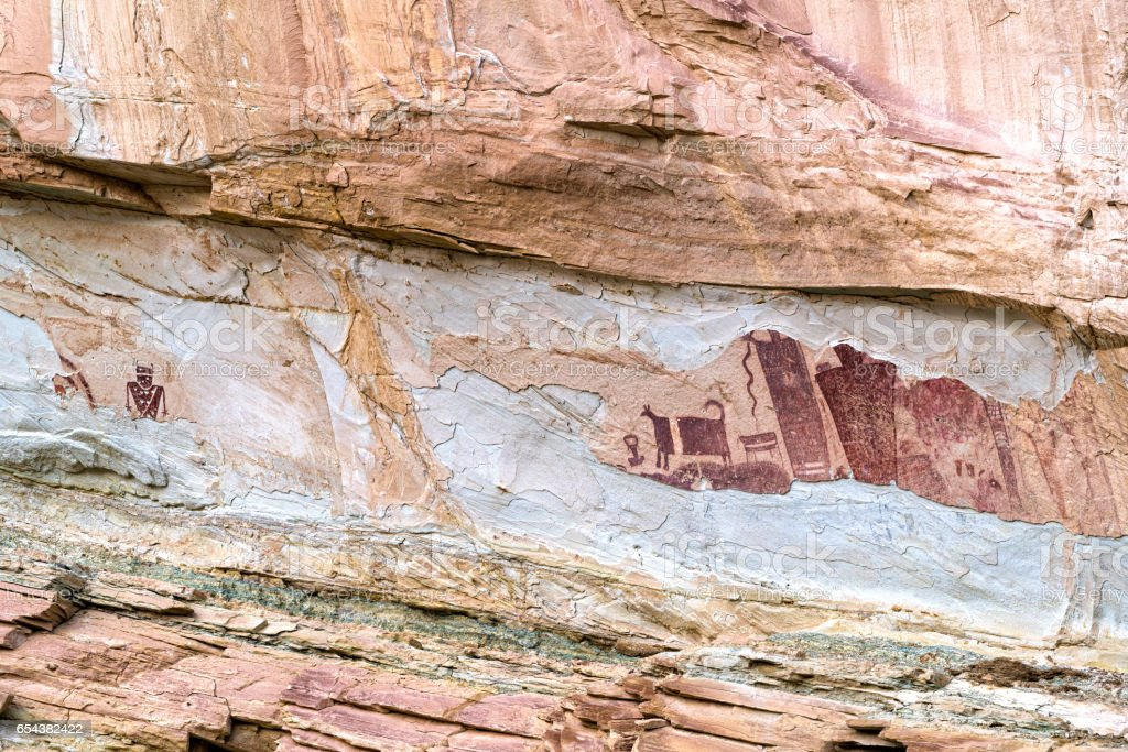 Pictograph in Utah Canyon stock photo