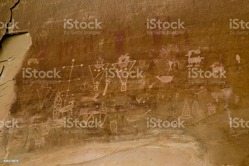 Pictographs and Petroglyphs stock photo