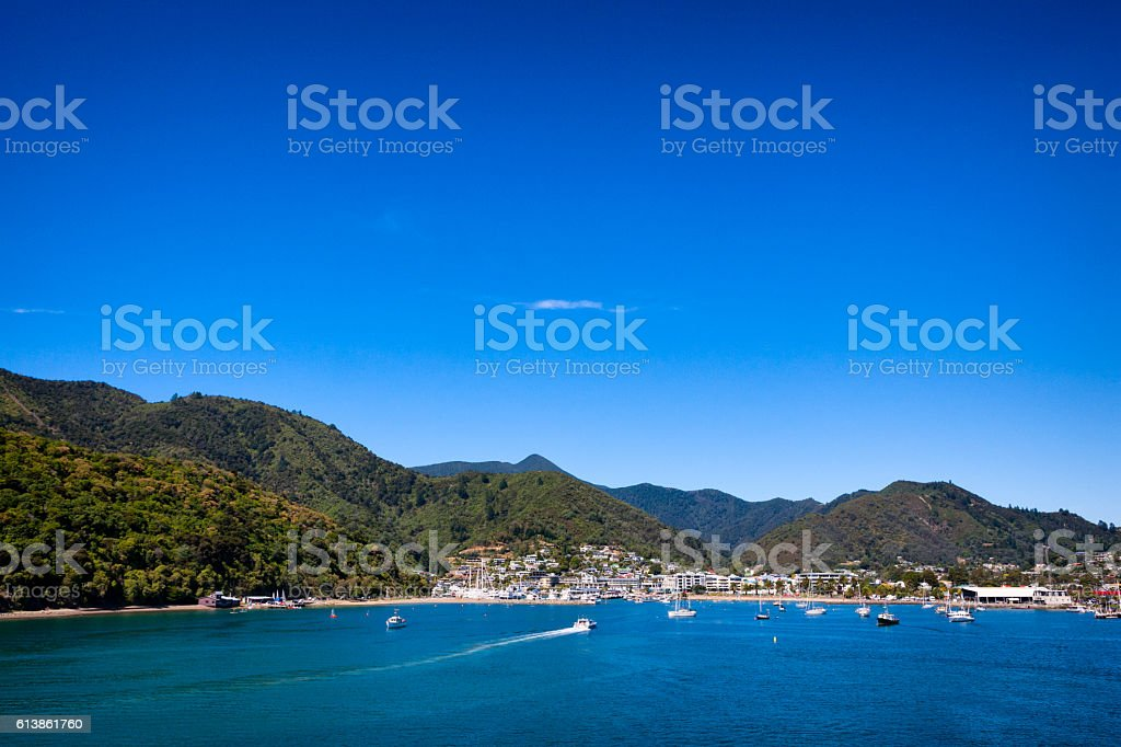 Picton on Queen Charlotte Sound of Cook Strait, New Zealand stock photo