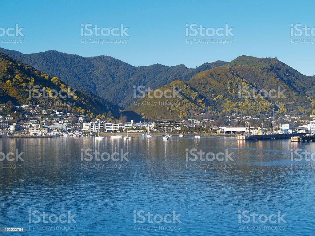 Picton, seaside town, New Zealand. stock photo