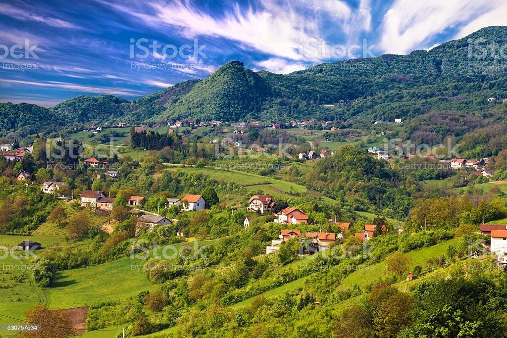 Pictoresque landscape of Samobor hills stock photo