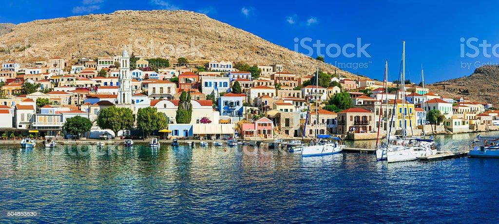 Pictorial Chalki Island,Greece. stock photo