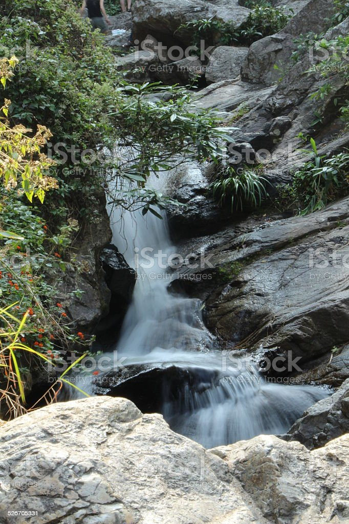Pictorial Scene of a waterfall in Chiang Mai, Thailand stock photo