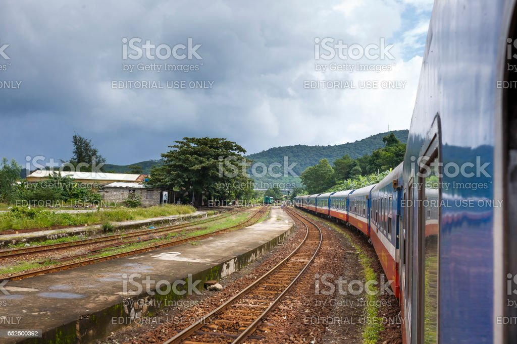 picture a train running through Hai Van Pass in the middle center of Vietnam. stock photo