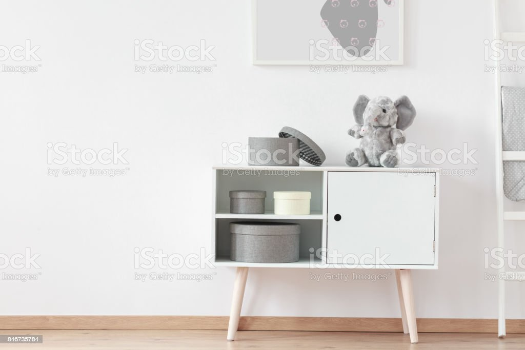 Picture above white wooden shelf stock photo