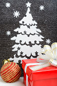 Picture Christmas tree made of artificial snow