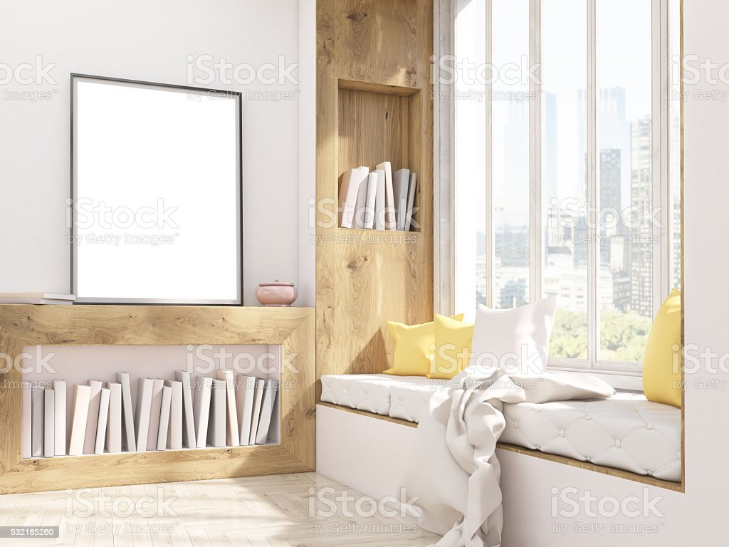 Picture frame and window seat stock photo