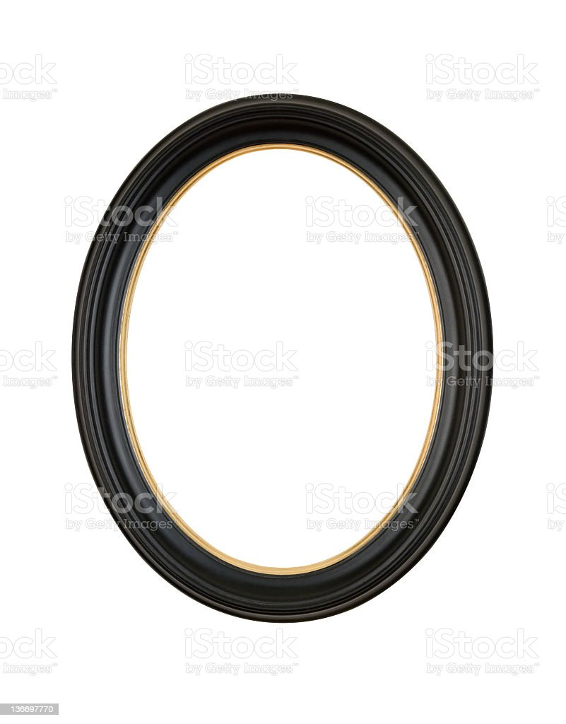 Picture Frame Black Oval Circle, White Isolated Studio Shot stock photo