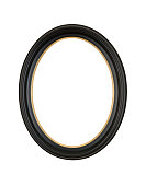Picture Frame Black Oval Circle, White Isolated Studio Shot