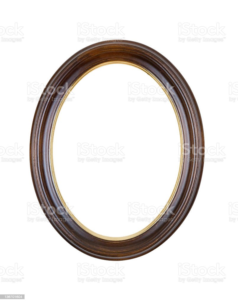 Picture Frame Brown Oval Round, White Isolated royalty-free stock photo