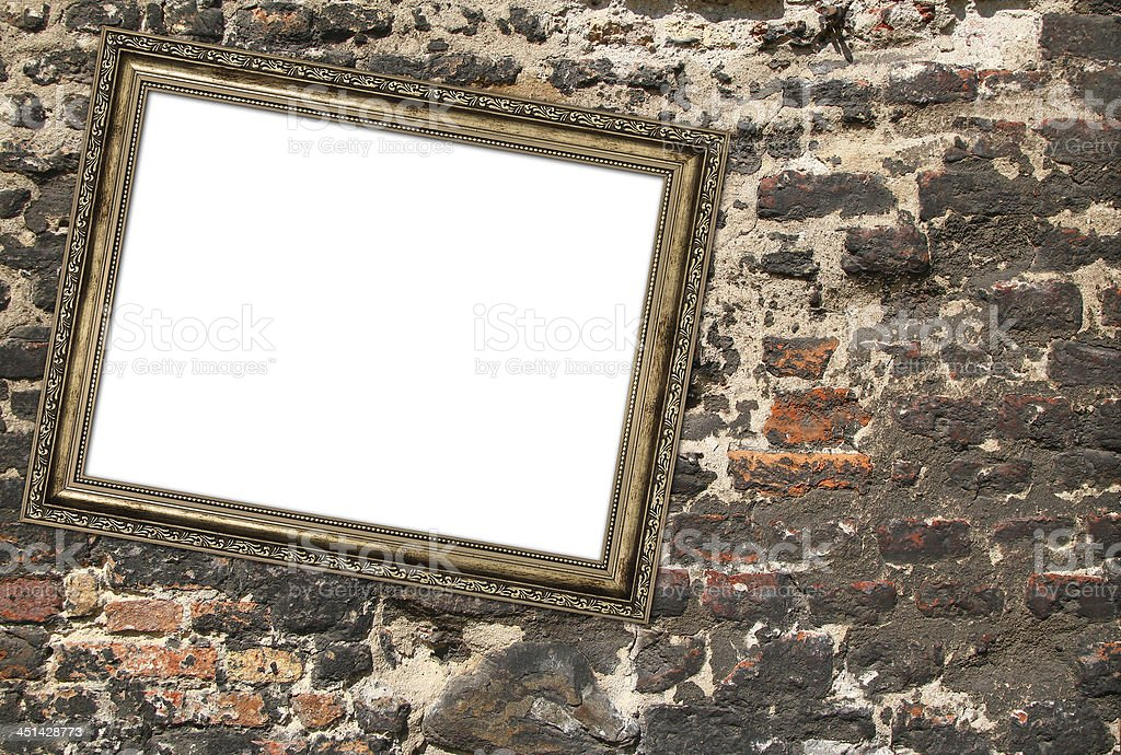 picture frame crookedly hung stock photo