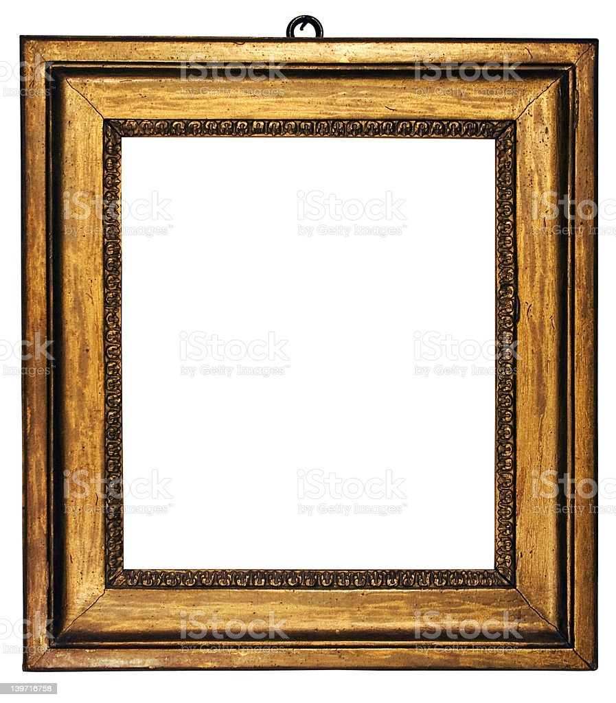 Picture Frame Cubic Gold (Path Included) royalty-free stock photo