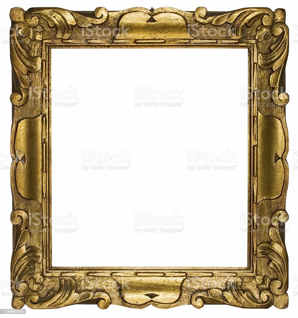 Picture Frame Gold Cubic (Path Included) stock photo