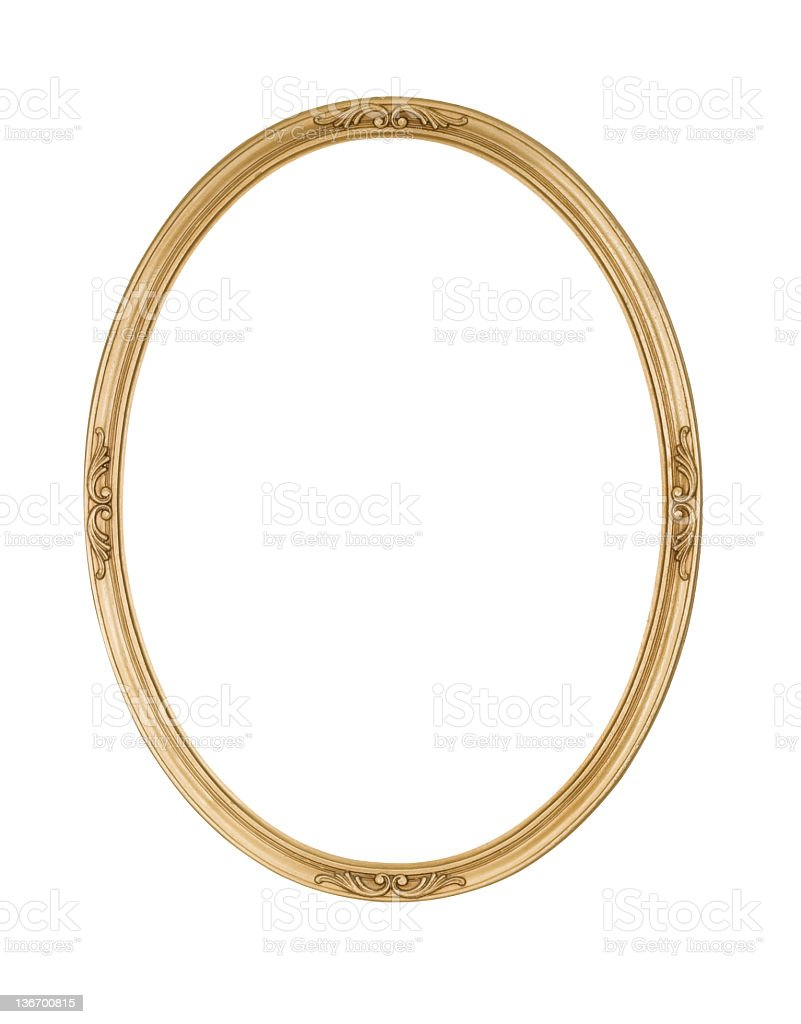 Picture Frame Gold Oval Round, Narrow, White Isolated Studio Shot stock photo