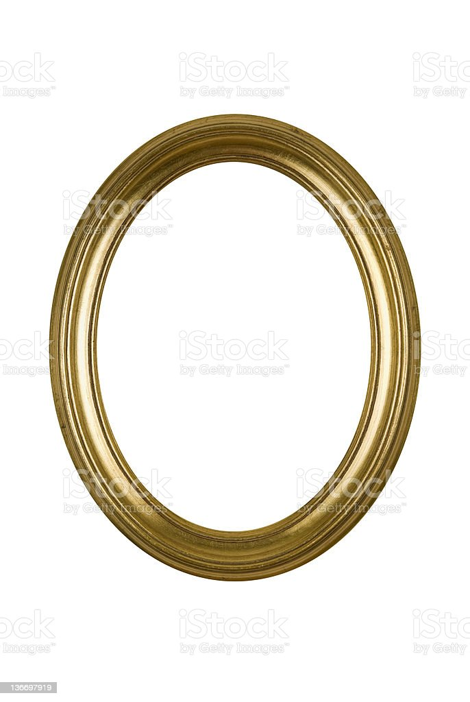 Picture Frame Gold Oval Round, White Isolated Studio Shot stock photo
