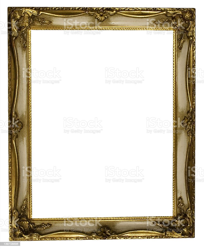 Picture Frame Gold (Path Included) royalty-free stock photo
