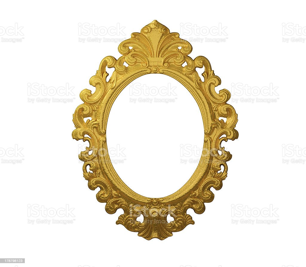 Picture Frame Gold Round Oval, White Isolated Studio Shot royalty-free stock photo