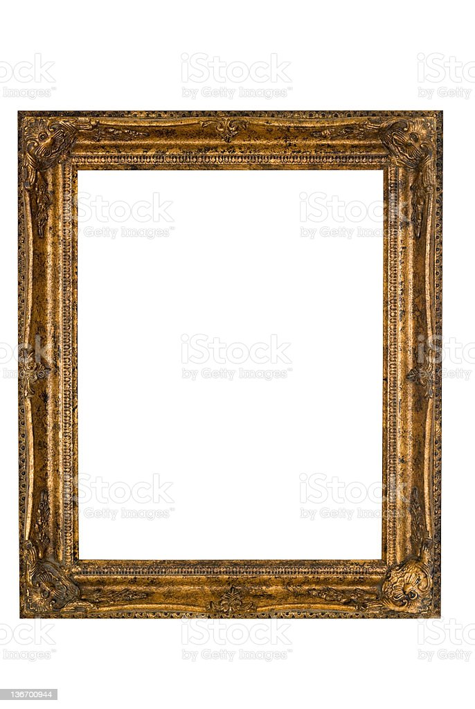 Picture Frame in Baroque Gold, White Isolated royalty-free stock photo