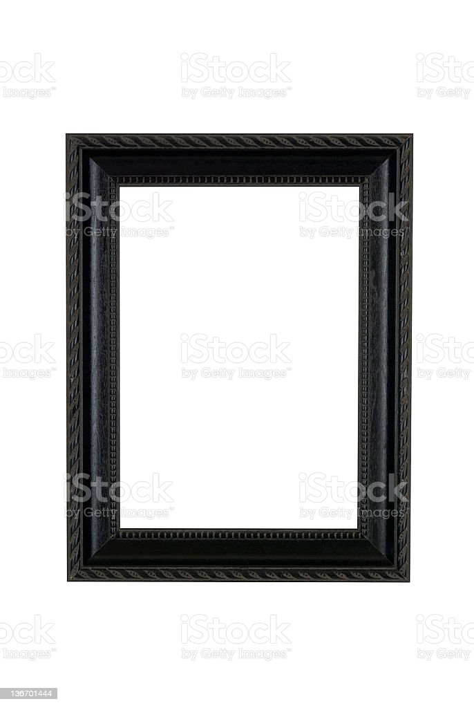 Picture Frame in Basic Black, White Isolated Studio Shot royalty-free stock photo