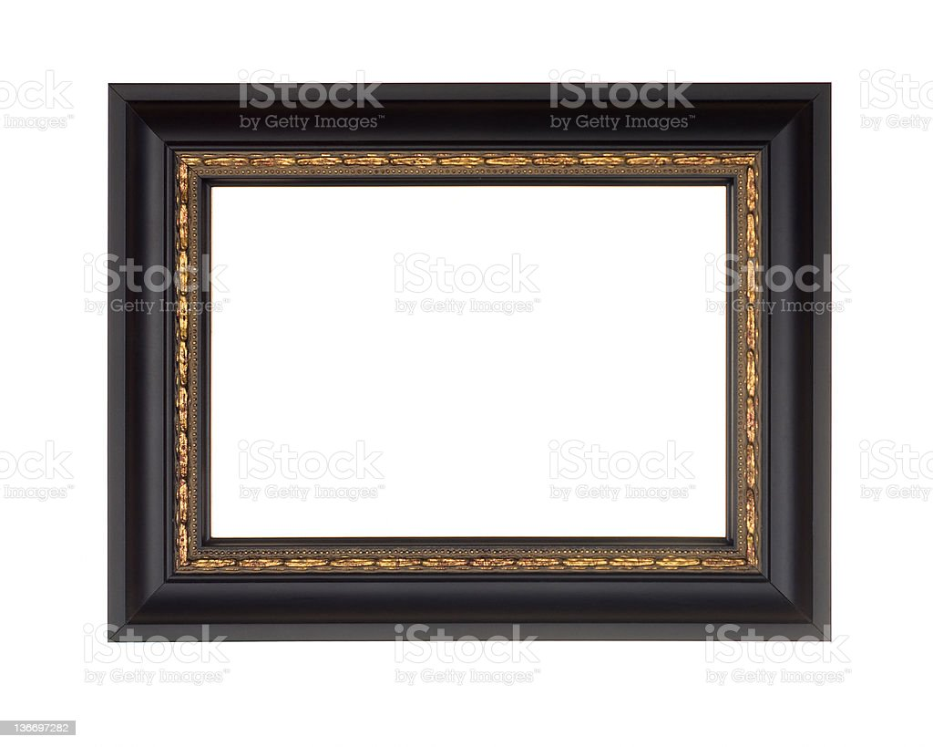Picture Frame in Black, Modern with Gold Edge, White Isolated stock photo