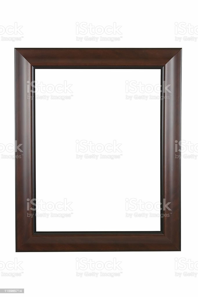 Picture Frame in Brown Modern Satin Finish, White Isolated royalty-free stock photo