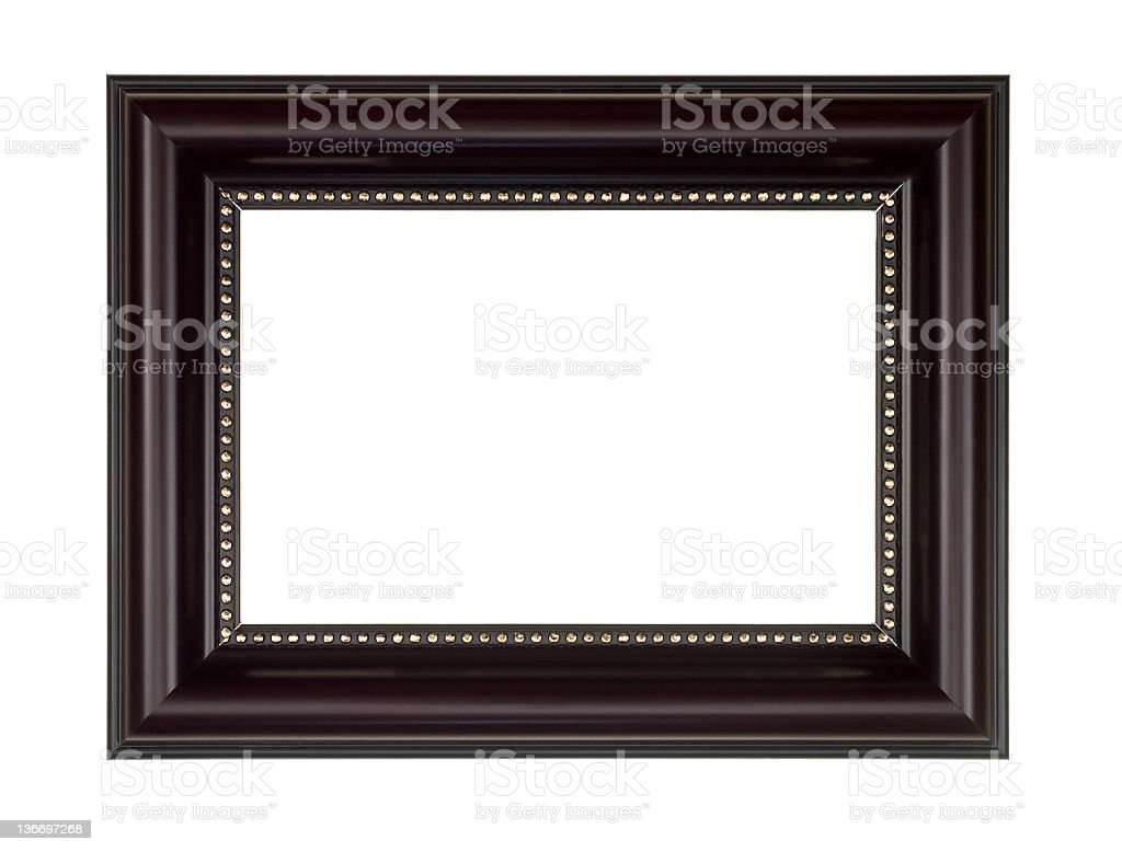 Picture Frame in Dark Brown, White Isolated stock photo