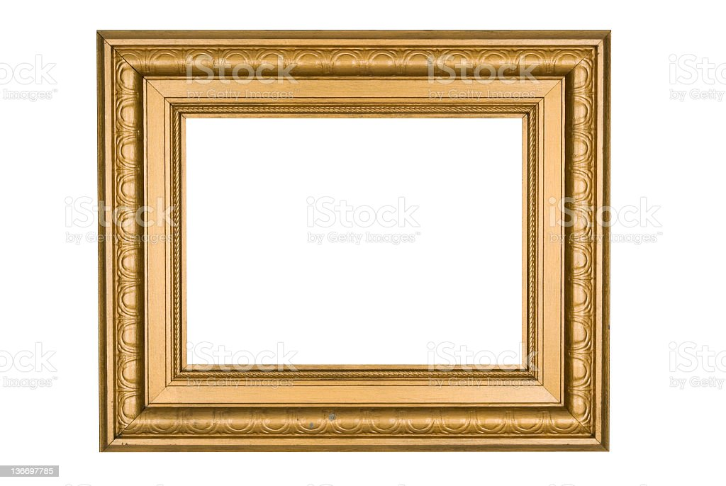 Picture Frame in Gold, White Isolated royalty-free stock photo